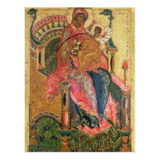 Postal Virgen y niño, escuela de Moscú