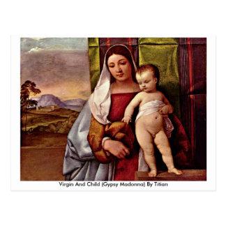 Postal Virgen y niño (Madonna gitano) por Titian