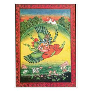 Postal Vishnu y Lakshmi que montan Garuda, el grande