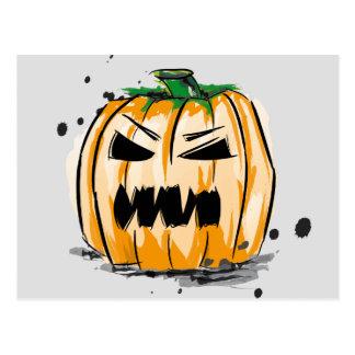 Postal Víspera de todos los santos creepy pumpkin