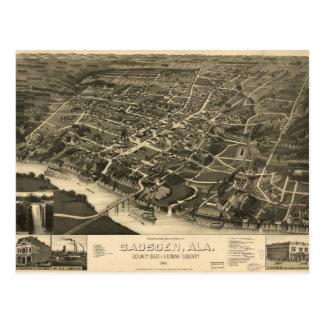 Postal Vista aérea de Gadsden, Alabama (1887)