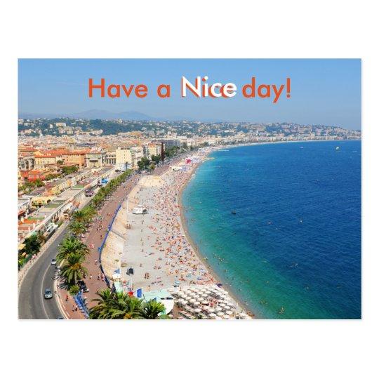Postal Vista aérea de la playa en Niza, Francia
