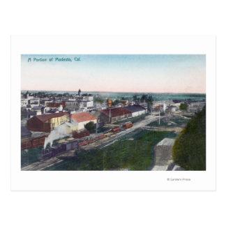 Postal Vista aérea de una porción de CityModesto, CA