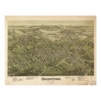 Postal Vista aérea de Uniontown, Pennsylvania (1897)