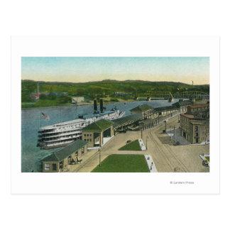 Postal Vista aérea del muelle de la navegación del Hudson