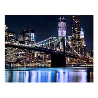 Postal Vista de la reflexión del puente de Brooklyn de