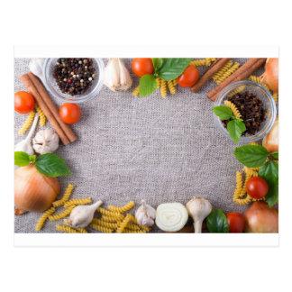 Postal Vista superior de los ingredientes para una comida