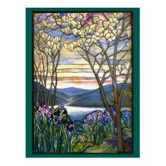 Postal Vitral de Tiffany de la magnolia y del iris