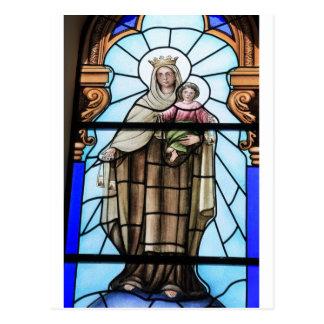 Postal Vitral del Jesucristo del bebé del Virgen María