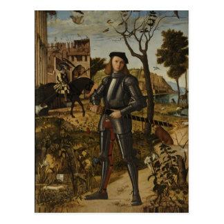 Postal Vittore Carpaccio - caballero joven en un paisaje