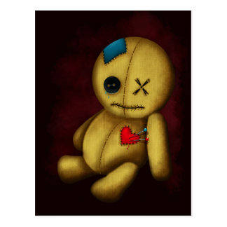 Postal Voodoo la muñeca de trapo con los remiendos y los