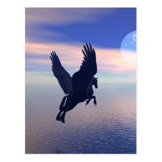 Postal Vuelo Pegaso en cielo azul