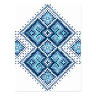 Postal Vyshyvanka ucraniano del azul del bordado