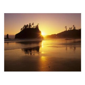Postal WA, NP olímpico, segunda playa en la puesta del