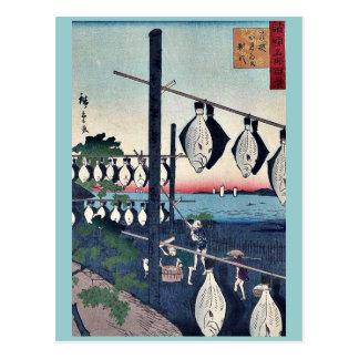 Postal Wakasa secó las platijas por Utagawa, Hiroshige