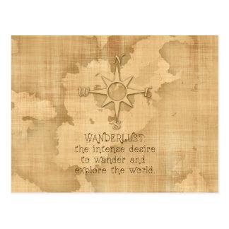 """Postal """"Wanderlust…"""" Cita que viaja en el papel del"""