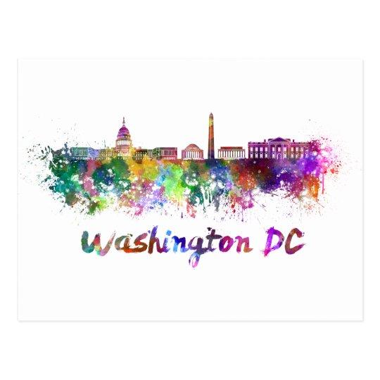 Postal Washington DC skyline in watercolor