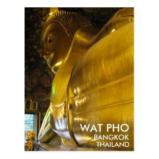 Postal Wat Pho Buda de oro de descanso Bangkok Tailandia
