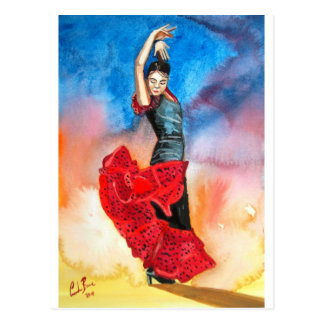Postal Watercolour del BAILARÍN del FLAMENCO
