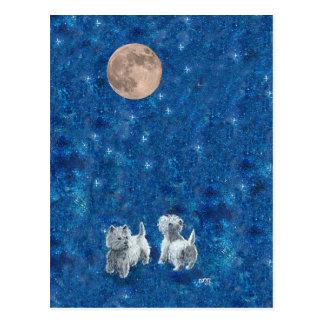 Postal Westies que desea en la luna