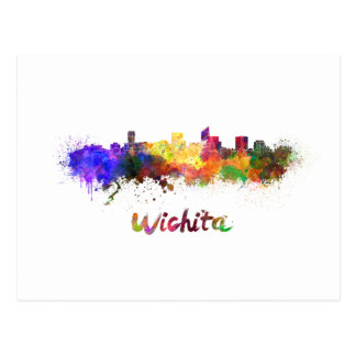 Postal Wichita skyline in watercolor