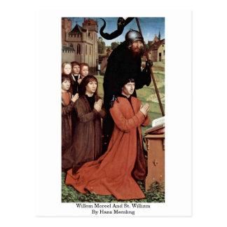 Postal Willem Moreel y St. Guillermo de Hans Memling