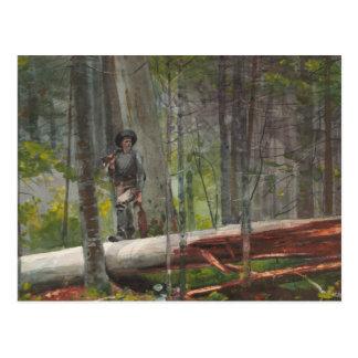 Postal Winslow Homer - cazador en el Adirondacks