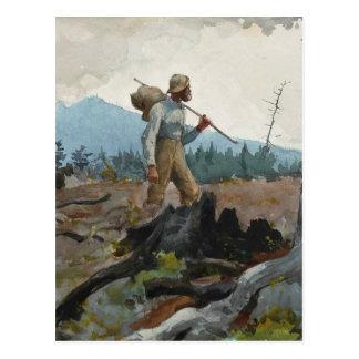 Postal Woodsman de la guía de la acuarela del vintage de