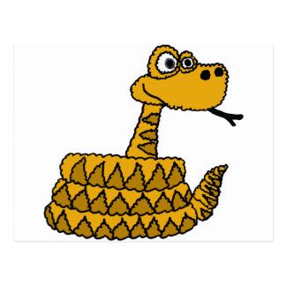 Postal XX dibujo animado enrrollado de la serpiente de