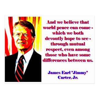 Postal Y creemos esa paz de mundo - Jimmy Carter