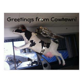 Postal Y la vaca saltada sobre la luna