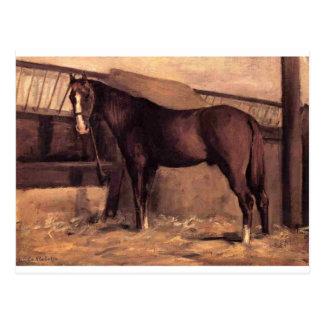 Postal Yerres, caballo de bahía rojizo en el establo de