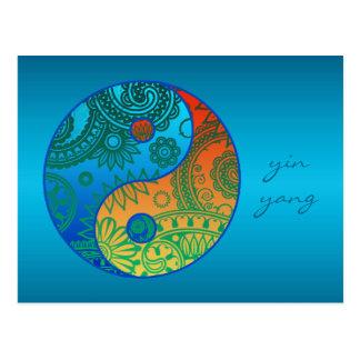 Postal Yin modelado Yang anaranjado y azul