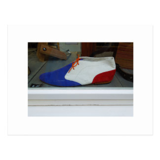 Postal Zapato azul blanco rojo de la fotografía holandesa