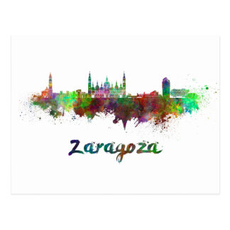 Postal Zaragoza skyline in watercolor