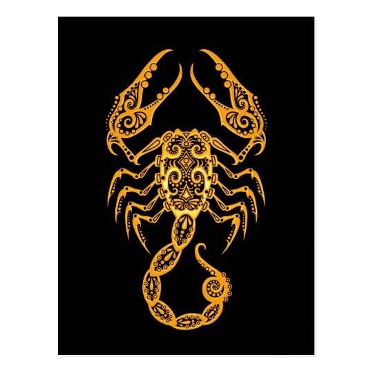 Postal Zodiaco amarillo complejo del escorpión en negro