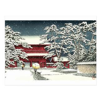 """Postal """"Zojoji en nieve"""" por el 川瀬巴水 de Kawase Hasui"""