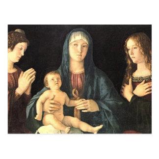 Postal Zwei Heilige del und de Madonna