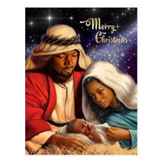 Postales afroamericanas del navidad del arte de la