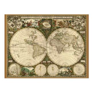 Postales antiguas del mapa del mundo del vintage