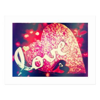 Postales brillantes del amor de los corazones del