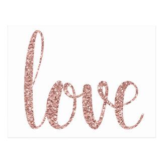 Postales color de rosa del amor del oro, brillo