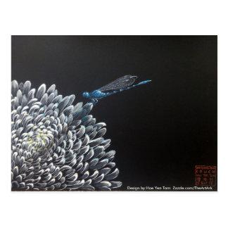 Postales - crisantemo y damselfly