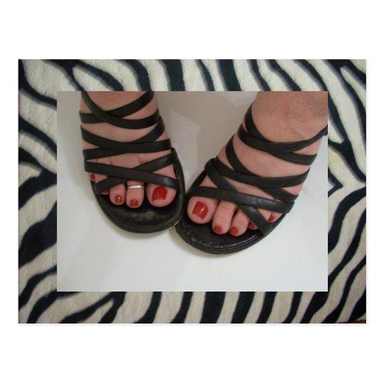 Postales de la cebra de los dedos del pie del