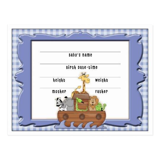 Postales de la invitación del bebé de la arca de