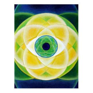 Postales de los pétalos del verde azul del ojo