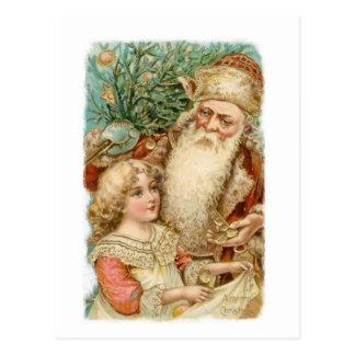 Postales del navidad de Santa y de la niña