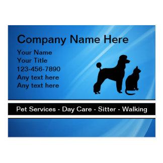 Postales del negocio del cuidado de animales de co