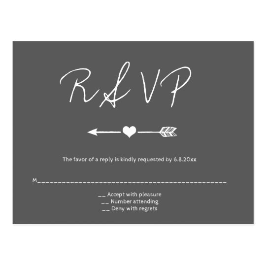 Postales del rsvp del boda de la flecha de la
