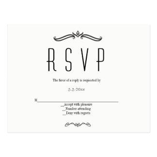 Postales del rsvp del boda de la tipografía del